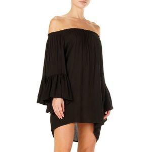 💛 Elan Black Ruffled Sleeve Off Shoulder Dress
